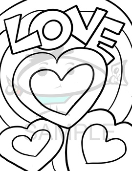Valentine's Day Color and Cut Frame w/bonus coloring page