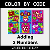 Valentine's Day Color by Code - Adding 3 Numbers