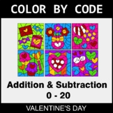Valentine's Day Color by Code - Addition & Subtraction (0-20)
