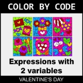 Valentine's Day Color by Code - Algebra: Expressions with
