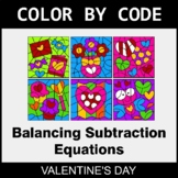Valentine's Day Color by Code - Balancing Subtraction Equations