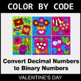 Valentine's Day Color by Code - Binary Numbers