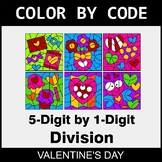 Valentine's Day Color by Code - Division: 5-Digit by 1-Digit