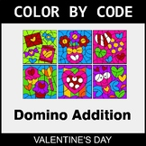 Valentine's Day Color by Code - Domino Addition