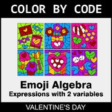Valentine's Day Color by Code - Emoji Algebra: Expressions