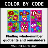 Valentine's Day Color by Code - Find Whole-Number Quotient