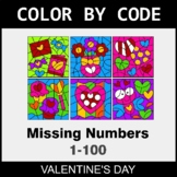 Valentine's Day Color by Code - Find the Missing Numbers (1-100)
