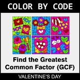 Valentine's Day Color by Code - Greatest Common Factor (GCF)