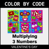 Valentine's Day Color by Code - Multiplying 3 Numbers