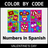 Valentine's Day Color by Code - Numbers in Spanish