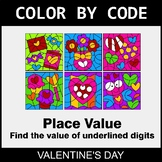 Valentine's Day Color by Code - Place Value of Underlined Digit