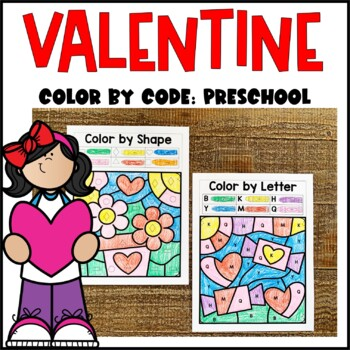 Valentine's Day Color by Code- Preschool