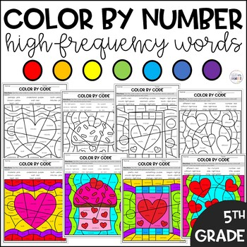 Valentine's Day Color by Code Sight Words Fifth Grade