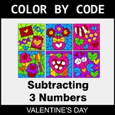 Valentine's Day Color by Code - Subtracting 3 Numbers