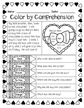 Valentine's Day (Color by Comprehension Stories and Questions) - 10 Stories