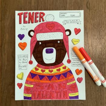 Valentine's Day Color by Conjugation Spanish verb tener no prep printable