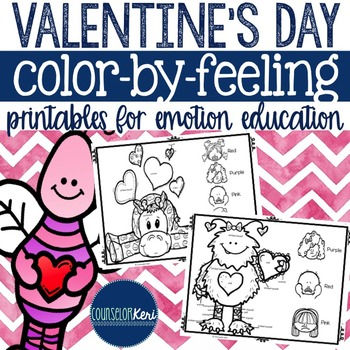 Valentine's Day Color-by-Feeling Printables - Emotions - Elementary Counseling