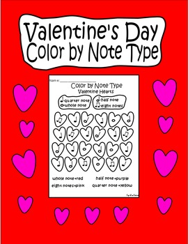 """Valentine's Day """"Color by Note Type"""" Music Note Coloring Page"""