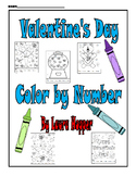 Valentine's Day Color by Number (5 worksheets)