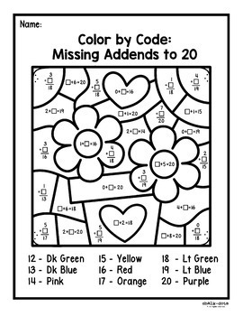 Valentine's Day Math Color by Number | Add, Subtract, and Missing Addends