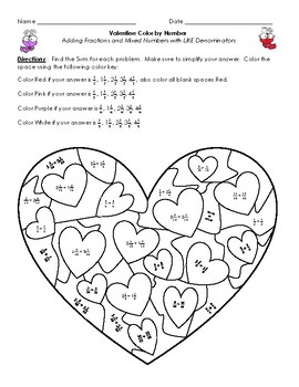 Valentine's Day Color by Number-- Adding Fractions and Mixed Numbers