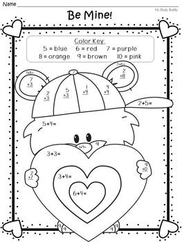 Valentine's Day Color by Number Addition Freebie (Differentiated)