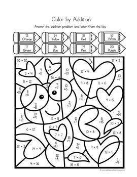 Valentine's Day Color by Number Addition Worksheets
