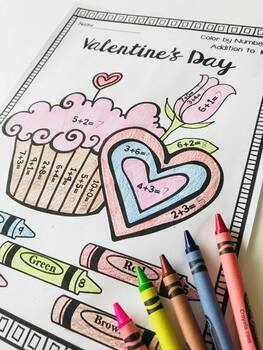 Valentine's Day Color by Number: Addition (to 5, 10, 20 & 100)!