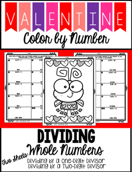 Valentine's Day Color by Number - Dividing by Whole Numbers
