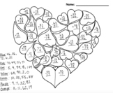 Valentine's Day Color by Number - Double digit Addition an