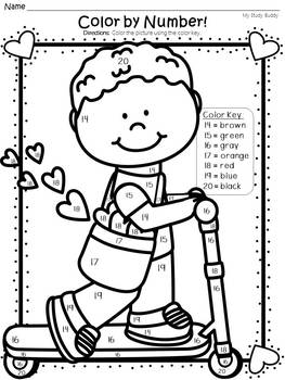 Valentine's Day Color by Number 11-20 (Kindergarten, Valentine's Day Activities)