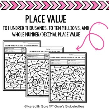 Valentine's Day Color by Number Math Worksheets - Variety of Skills