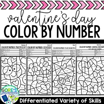 Valentine's Day / February Color by Number Math - Differentiated Skills