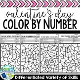 Valentine's Day Color by Number Math Worksheets - Differentiated