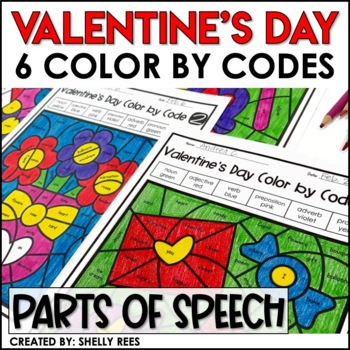 Valentine's Day Coloring Pages Parts of Speech Color by Number