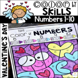 Valentine's Day Color by Numbers 1-10 Activities