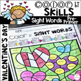 Valentine's Day Color by Sight Words Pre-Primer Sight Word Activities