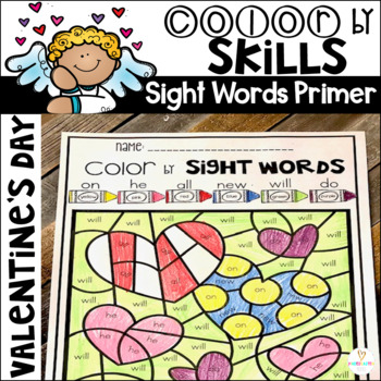 Valentine's Day Color by Code Sight Words Primer Sight Word Activities