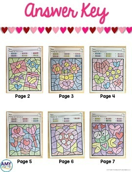 Valentine's Day Color by the Code Worksheets Kindergarten Math