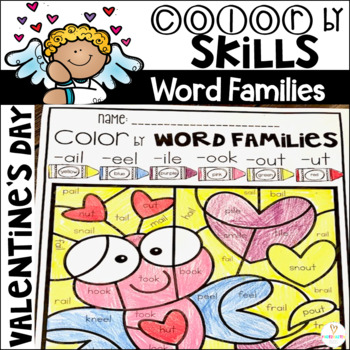 Valentine's Day Color by Code Word Families Printables