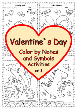 Valentine`s Day: Color by note and Symbol Activities Pack