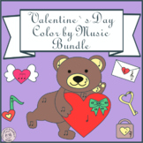 Valentine`s Day Music Coloring Pages | Color by Note | Bundle