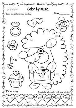 Valentine`s Day: Color by note and Symbol Activities (set 1)