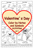 Valentine`s Day Music Coloring Pages set #1 | Color by Not