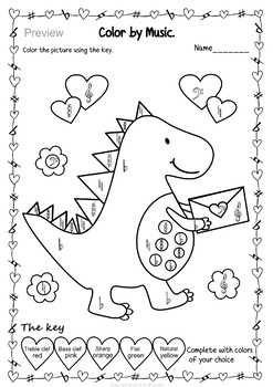 Valentine`s Day: Color by note and Symbol Activities (set 2)