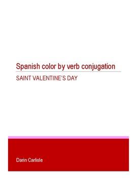 Valentine's Day Color by verb conjugation common Spanish verbs ~NO PREP verbos