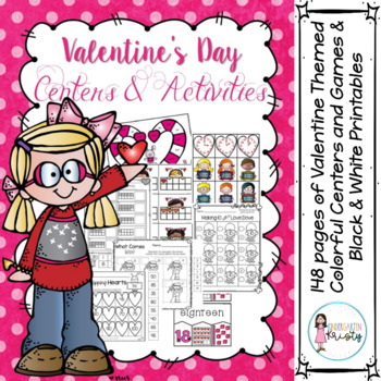 Valentine's Day Colorful Centers & B/W Printables