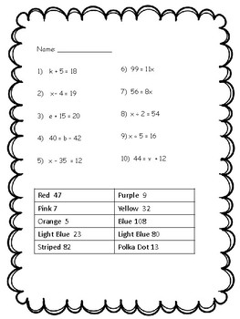 Valentine's Day - Coloring Activity - One Step Equations