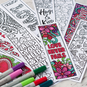Valentine's Day Coloring Bookmarks – Set of 12 Printable Bookmarks to Color