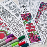 Valentine's Day Coloring Bookmarks – Set of 12 Printable B
